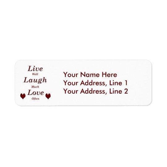 Levande skrattkärlek returadress etikett