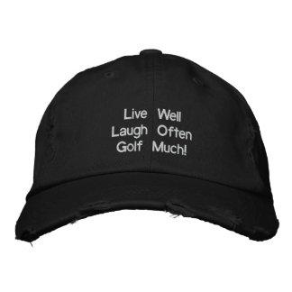 Levande väl för skratt Golf ofta mycket! Broderad Broderad Keps