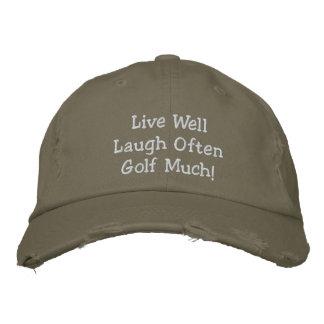 Levande väl för skratt Golf ofta mycket! Broderad  Hatt