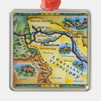 Lewis & Clark expeditionkarta Julgransprydnad Metall