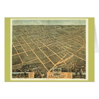 Lexington KY 1871 antik panorama- karta Hälsningskort