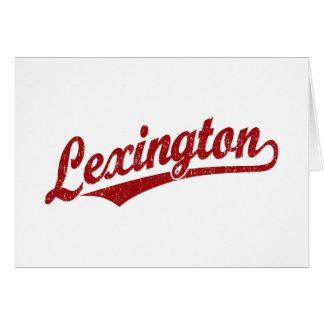 Lexington skrivar logotypen i rött bekymrat hälsningskort