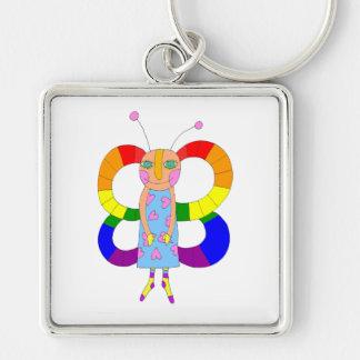 LGBT-fjäril eller fe Fyrkantig Silverfärgad Nyckelring