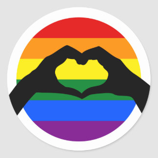 LGBT-gay prideregnbågen och hjärta räcker Runt Klistermärke