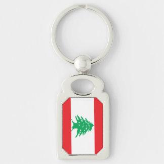 Libanesisk flagga rektangulärt silverfärgad nyckelring