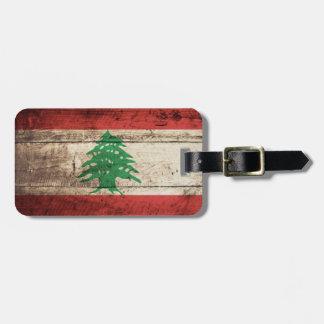 Libanon flagga på gammalt Wood korn Bagagebricka