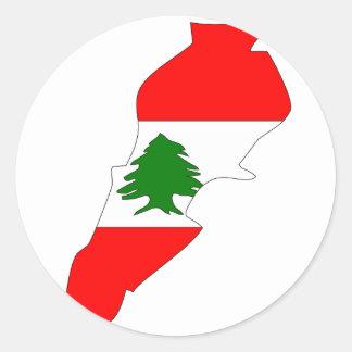 Libanon flaggakarta runt klistermärke