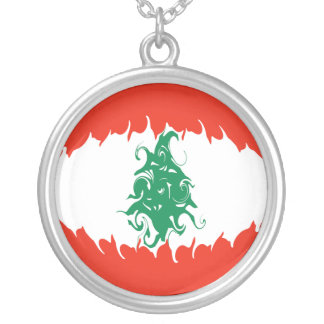 Libanon Gnarly flagga Halsband Med Rund Hängsmycke