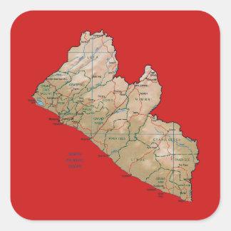 Liberia kartaklistermärke fyrkantigt klistermärke