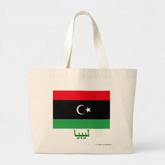 Libyen flagga med namn i arabiska kassar