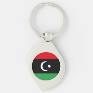 Libyen flagga swirl silverfärgad nyckelring