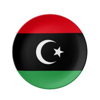 Libyen flagga tallrikar av porslin