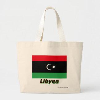 Libyen Flagge mit Namen Tote Bags
