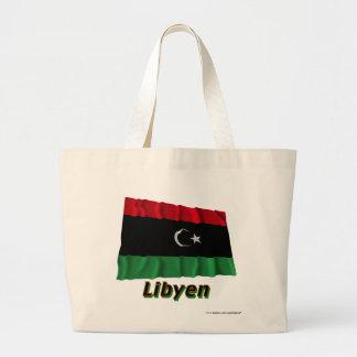 Libyen Fliegende Flagge mit Namen Tote Bags