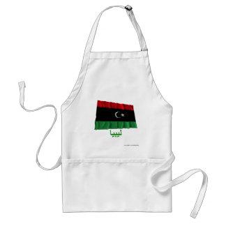 Libyen som vinkar flagga med namn i arabiska förkläde