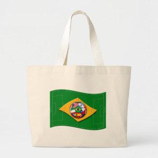 lik Brasilien för fotbollfältlooks flagga med boll Kassar