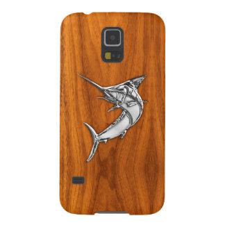 Lik Marlin för krom på den Wood korndekoren för Galaxy S5 Fodral