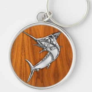 Lik Marlin för krom på den Wood korndekoren för Rund Silverfärgad Nyckelring