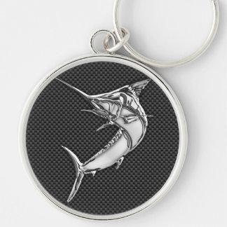 Lik Marlin för krom på kolfiber Rund Silverfärgad Nyckelring