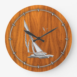 Lik segelbåt för krom på Teakfanér Stor Klocka