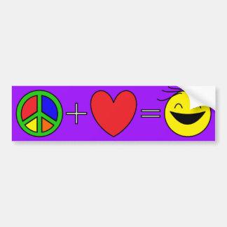 Likställer positiv kärlek för fred lyckan (lilor) bildekal