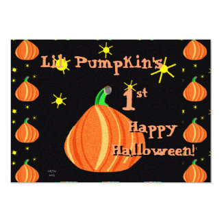 Lil pumpa 1st hälsning för sida för Halloween 12,7 X 17,8 Cm Inbjudningskort