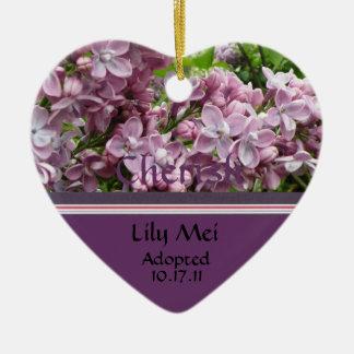 Lila adoptionmeddelandeprydnad hjärtformad julgransprydnad i keramik