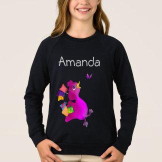 Lila älskar shopping vid Lycklig Juul Företag T-shirt