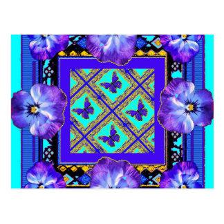 Lila-Blått Pansy, fjärilsgåvor vid Sharles Vykort