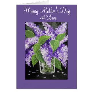 Lila blom- mors daghälsningkort hälsningskort
