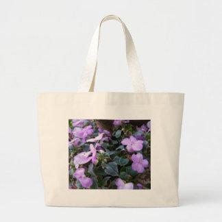 Lila blommor jumbo tygkasse