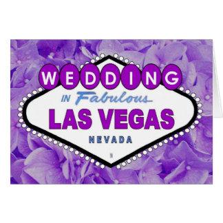 Lila blommor som GIFTA SIG i Las Vegas meddelande Hälsningskort