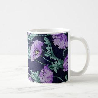 Lila blommormönster kaffemugg