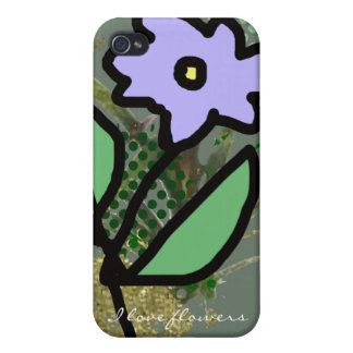 lila grafisk blomma iPhone 4 cover