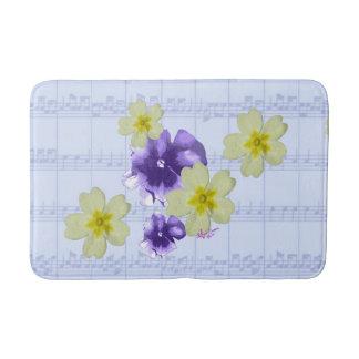 Lila- & gula blommorblåttnotbladbadmatta badrumsmatta