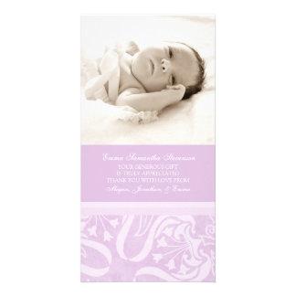 Lila kort för tackbaby showerfoto fotokort