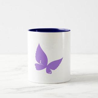 lila- och blåttfjärilsmugg Två-Tonad mugg