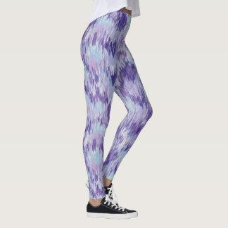Lila- och blåttlodrät målar mönsterdamasker leggings