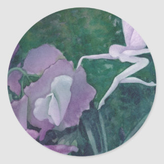 lila- och gröntfe runt klistermärke