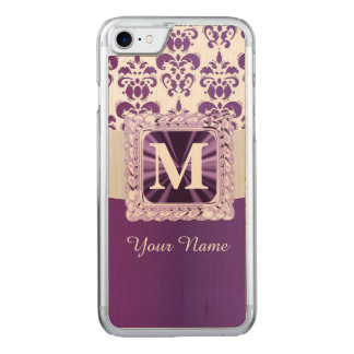 Lila- och vitdamastmonogram carved iPhone 7 skal