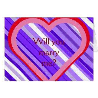 """Lila- och vitrandar + """"Ska dig att gifta sig mig? Hälsningskort"""