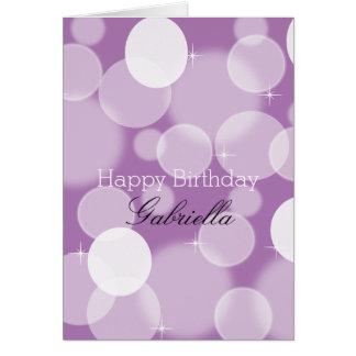 Lila purpurfärgade Bokeh OBS Kort