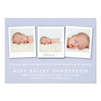 Lila purpurfärgat foto för nyfödd 12,7 x 17,8 cm inbjudningskort