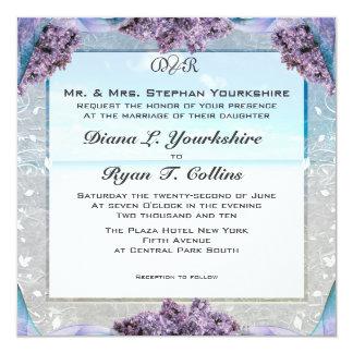 Lila strandbröllopinbjudan fyrkantigt 13,3 cm inbjudningskort