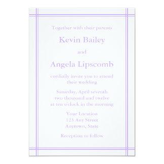Lila- & vitbröllopinbjudan eller meddelande 12,7 x 17,8 cm inbjudningskort