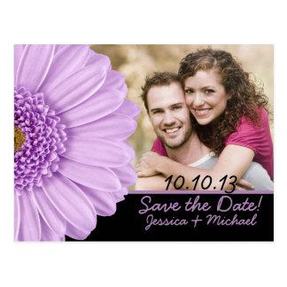 Lila vykort för daisyfotobröllop spara datum