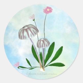 Lilan och vit plocka svamp med lilla Daisies. Runt Klistermärke