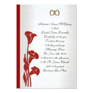 Lilja för calla för bröllopinbjudan röd 12,7 x 17,8 cm inbjudningskort