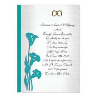 Lilja för calla för bröllopinbjudanturkos 12,7 x 17,8 cm inbjudningskort