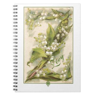 Lilja för Catherine Klein blommaalfabet Z av dalen Anteckningsbok Med Spiral